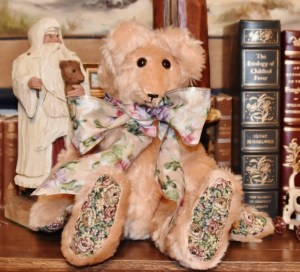 "Peaches, 15"" peach mohair bear with tapestry paws--Sale Price $39"