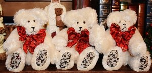 String Mohair Bears Ready for Christmas