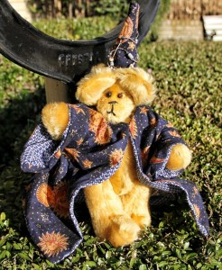Wizard Bear--gold mohair, fully lined cloak, decorated hat, tapestry paws,  $45