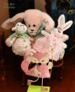 pink mohair bunny with lamb 900 _9874