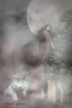Angel statue in cemetery in Scotland wolf pet cemetery fog flattened more foggy exterior texture brightened 900x600 text