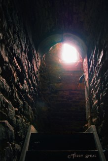 Seeing the light in the darkness, castle stairs1, 900 Scotland Sept 2015, 2667