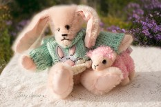 pink mohair bunny in Easter sweater with sheep 1000 113