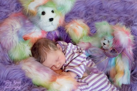 Baby in purple and teddy bears1 900 012