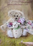 Champagne mohair bear with lamb for Easter 1000 008