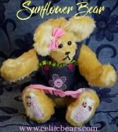 Sunflower yellow mohair bear with blue jean dress 1000 004
