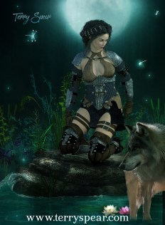 warrior woman and wolf 1000