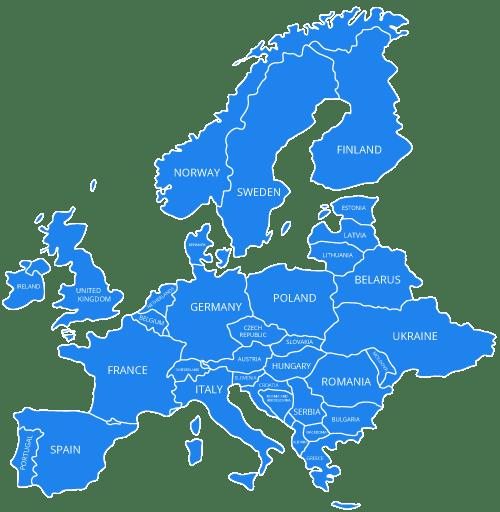 European map in blue