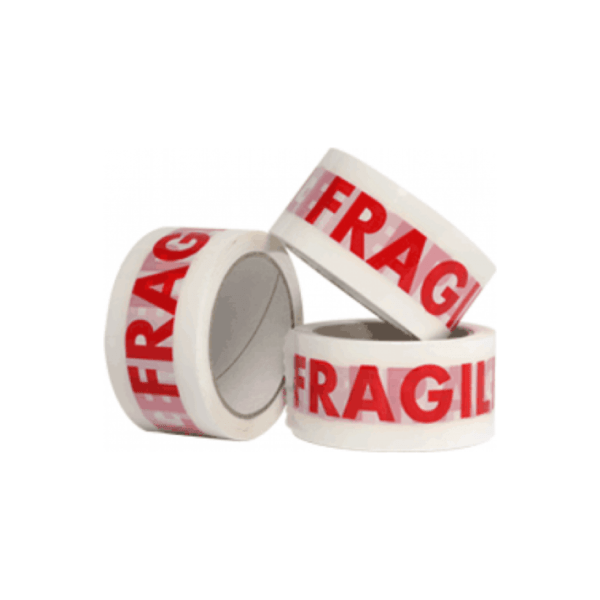 white tape with the word 'fragile' in bold red