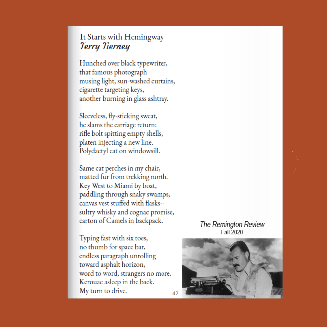 "Terry Tierney, ""It Starts with Hemingway,"" The Remington Review, Fall 2020"