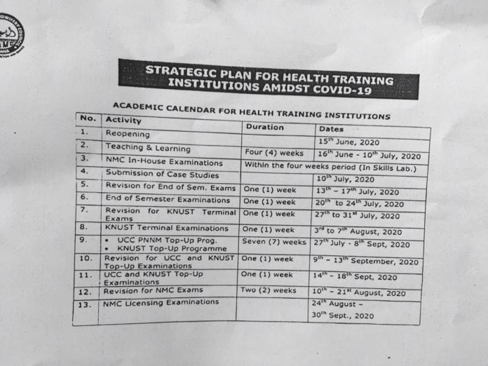 Final Academic Calendar For Health Training Institution