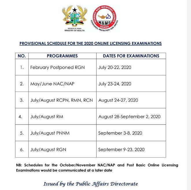 NMC - Provisional Schedules For Licensing Exams