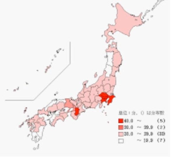 家計主の通勤時間の中位数- 都道府県(平成20年)
