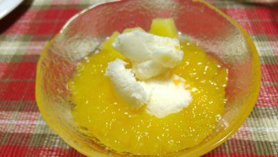 ピーチヨーグルト味氷とゼリー