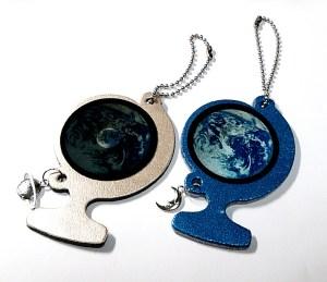 地球月球儀キーホルダー青