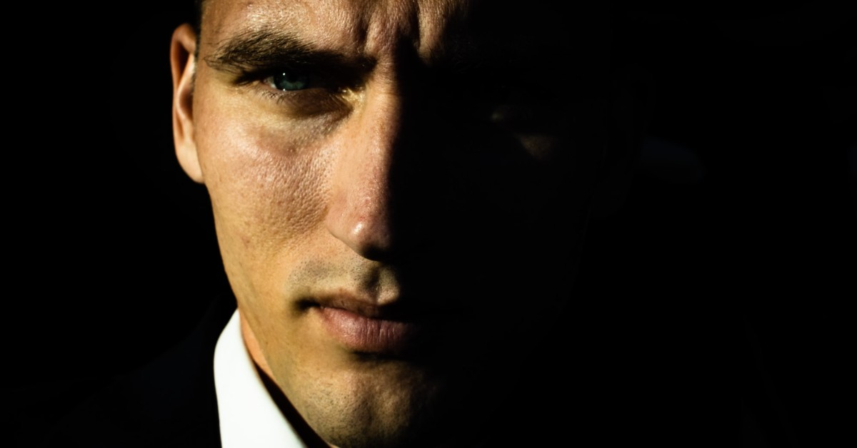 Close-up of man with intense stare