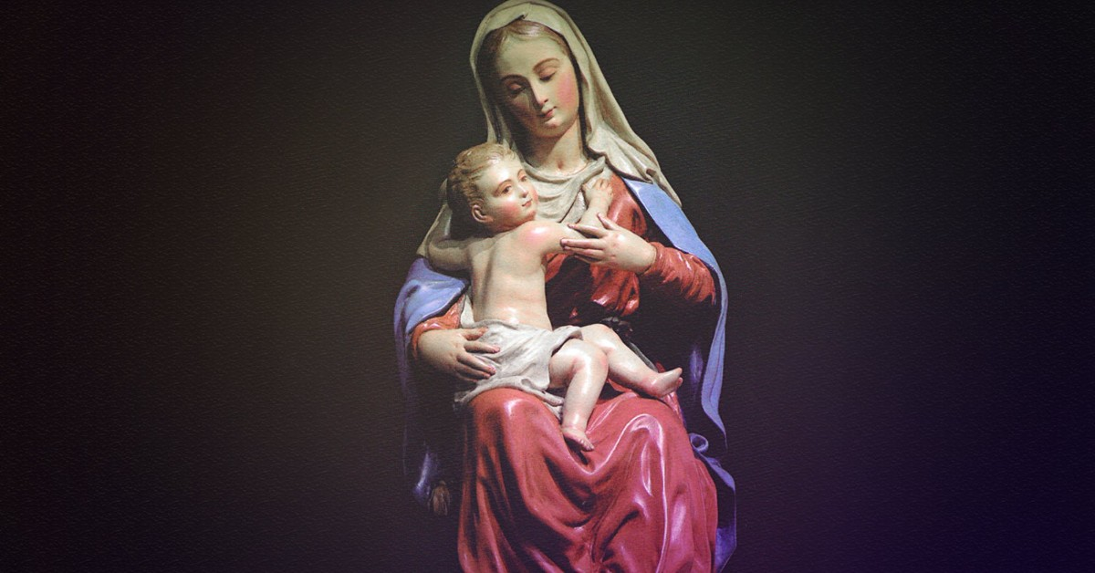 A painting of mother Mary and baby Jesus