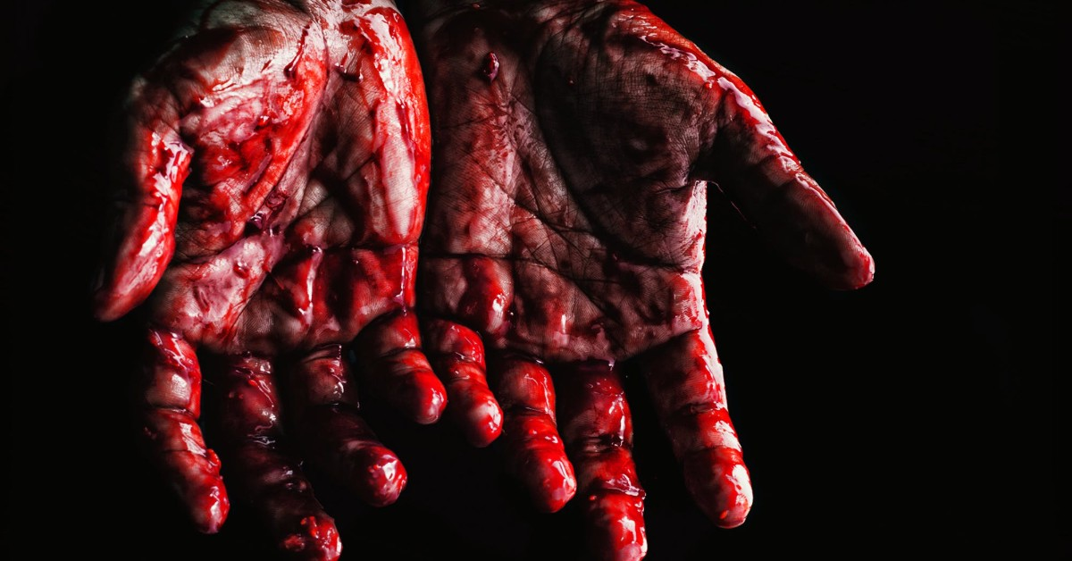 A pair of hands covered in blood