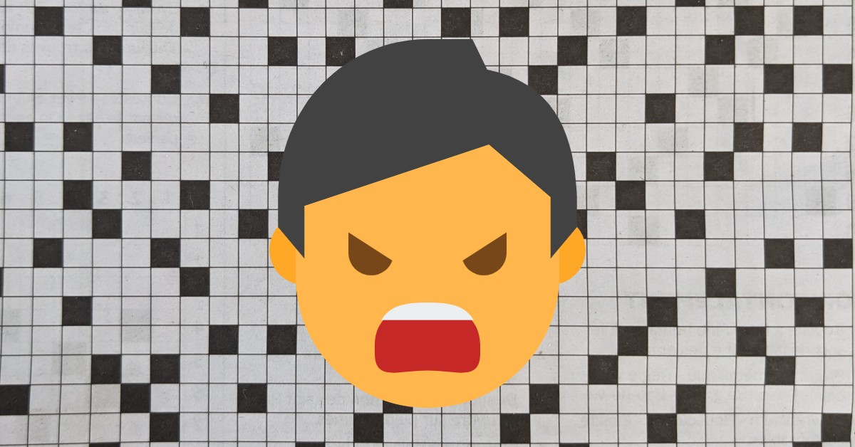 crossword puzzle squares in the background with an angry animated man's face in the foreground