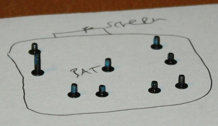 Battery attachment screws