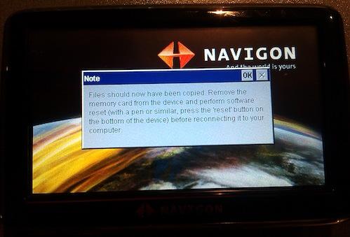 Popup message shown in Navigon after script has been run