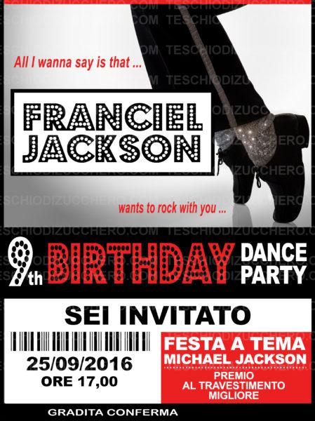 festa tema michael jackson invito