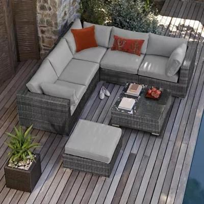 grey rattan garden furniture Buy Maze Rattan - London Rattan Corner Sofa Set - Grey