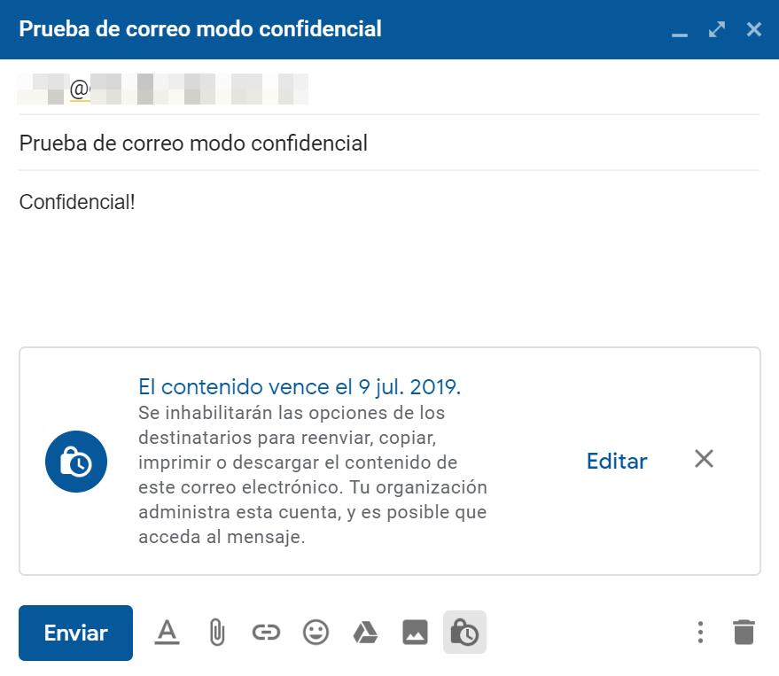 Modo confidencial en Gmail activado