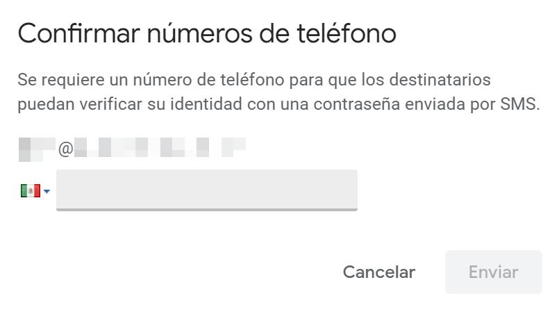 Confirmar número para envío de código por SMS en modo confidencial Gmail