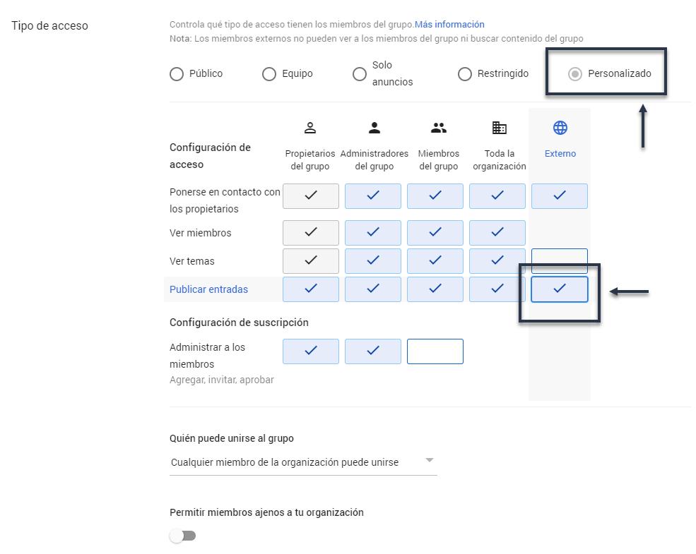 Configurar acceso externo de un grupo en G Suite
