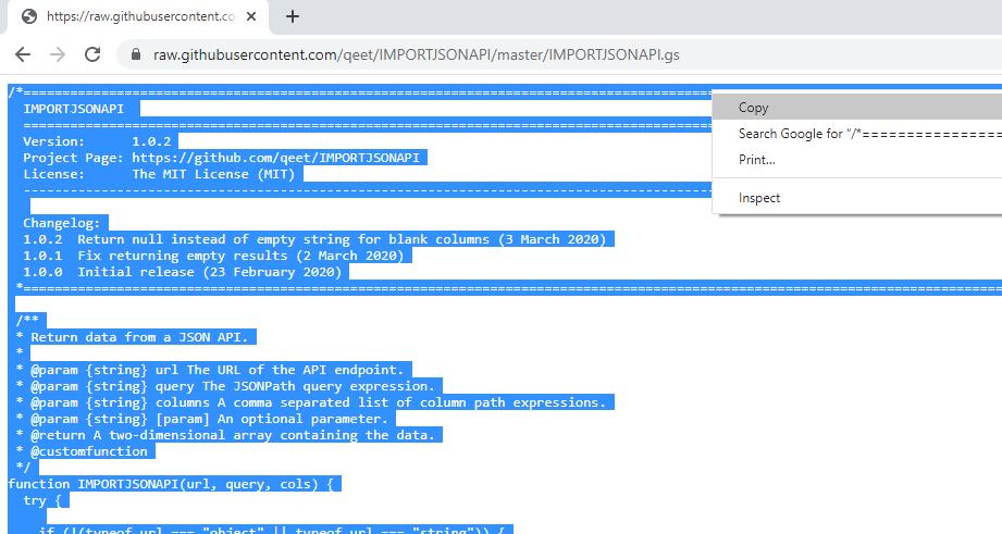 Copiar código de IMPORTJSONAPI