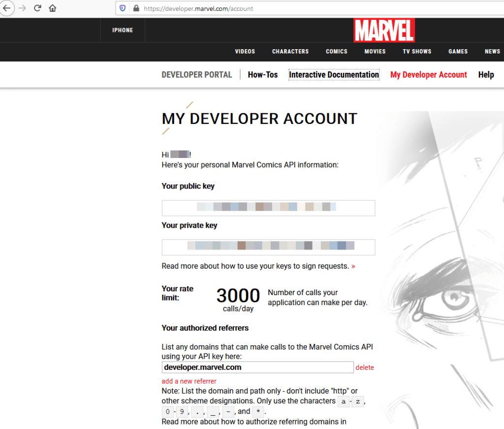 Ejemplo de API que requiere una llave (API Key): API de Marvel.com