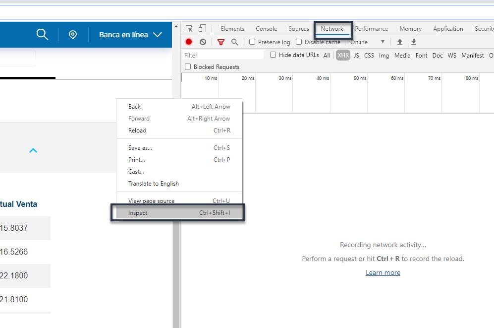 Abrimos la consola de desarrollador en Google Chrome
