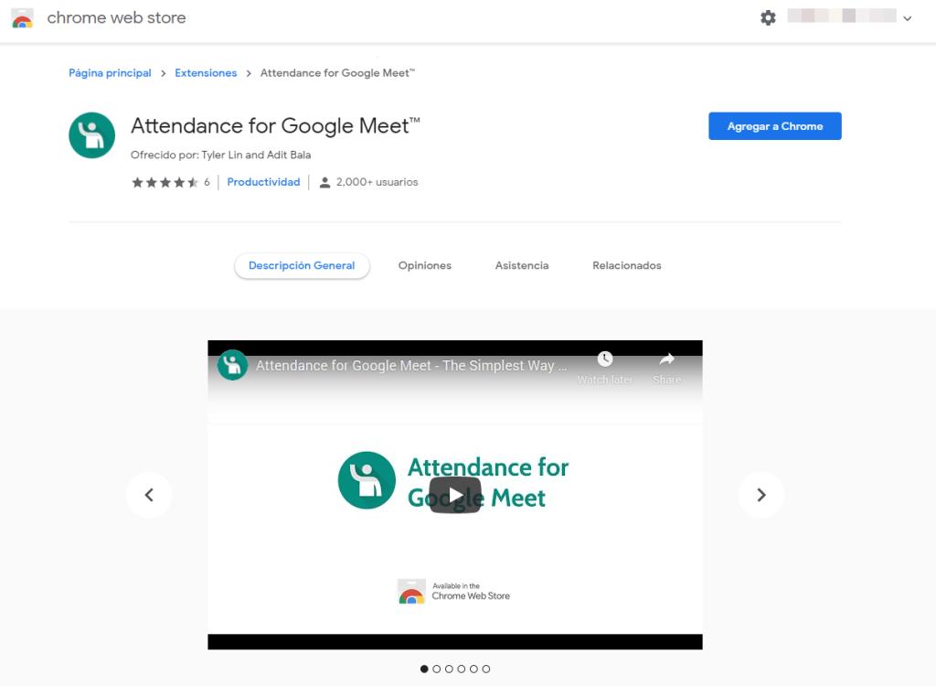 Seleccionamos la extensión para tomar asistencia en la Chrome Web Store