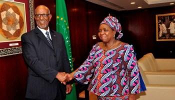 Ambassador Araya Desta  presenting his credentials to the Chairperson of the AUC, Dr. Nkosazana Dlamini Zuma