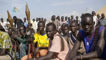 Members of the White Army, a South Sudanese anti-government militia, attending a rally