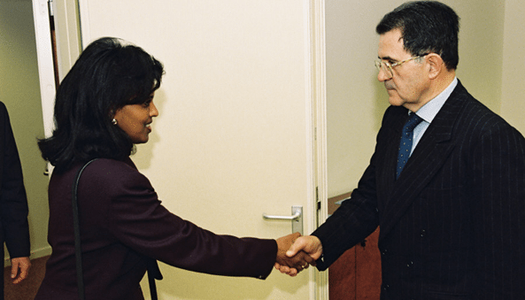 (Archive Photo): Ambassador Hana Simon presenting credentials to President of the European Commission Romano Prodi, in 2000. This is her second tour of duty as Eritrean ambassador to Paris