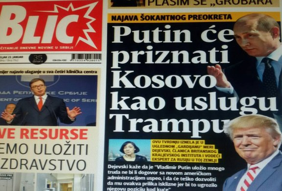 Gazeta më e madhe serbe: Është mbyllur pakti, Putin do ta njohë Kosovën