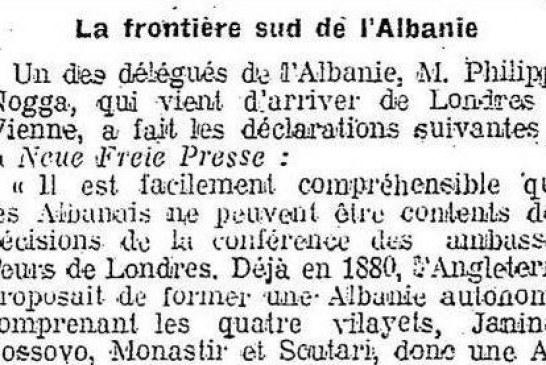 """Vjenë, 1913: Deputeti Filip Noga për """"Neue Freie Presse"""": të lënduar që Çamëria me 80 mijë shqiptarë, iu dha Greqisë"""
