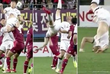 Horror në futboll: lojtari korean thyhen zverkun (video)