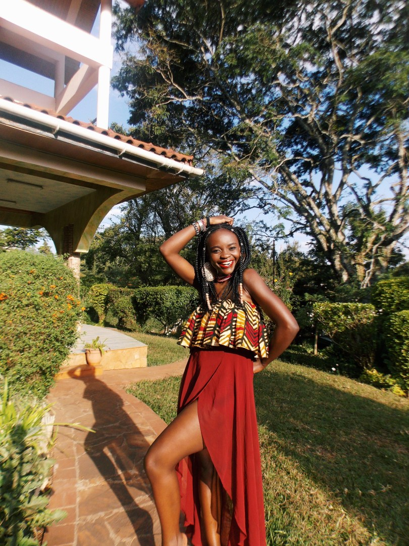 Teshie Ogallo wearing ankara ruffle top in Nairobi