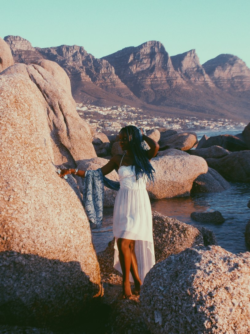 Teshie Ogallo at Cape Town beach White Dress Project