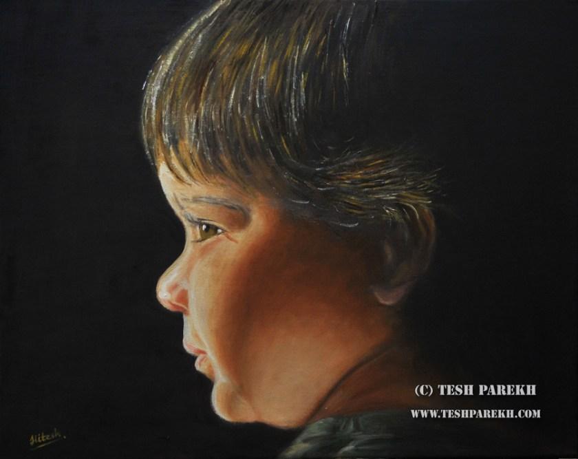 Ian. Oil on linen. 16x20. Fine Art Portrait by Tesh Parekh