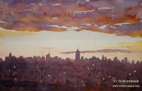 NYC morning. 14x22. Watercolor on paper.