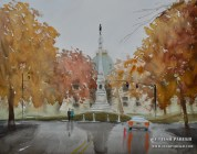 After the rain - NC State Capitol. 16x20. Watercolor on paper.