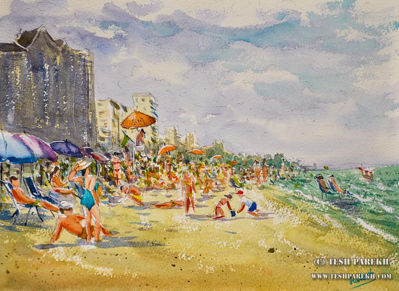 Myrtle Beach SC Plein Air Watercolor Paintings by Raleigh Fine Artist