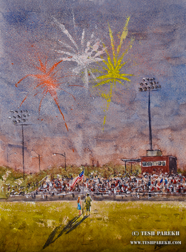 Wake Forest Fireworks – Plein Air Watercolor painting by Raleigh Artist