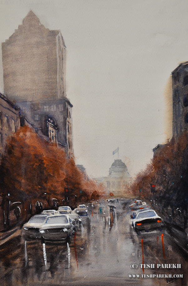 Raleigh Downtown on a Rainy Day – A watercolor painting by NC fine artist