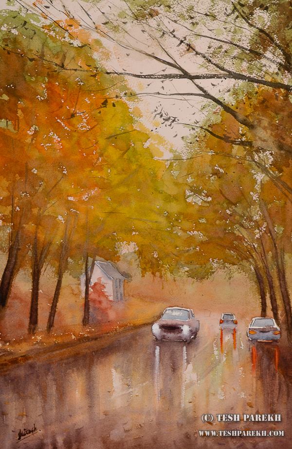 Rainy Fall Day in Raleigh – A watercolor by Raleigh Fine Artist