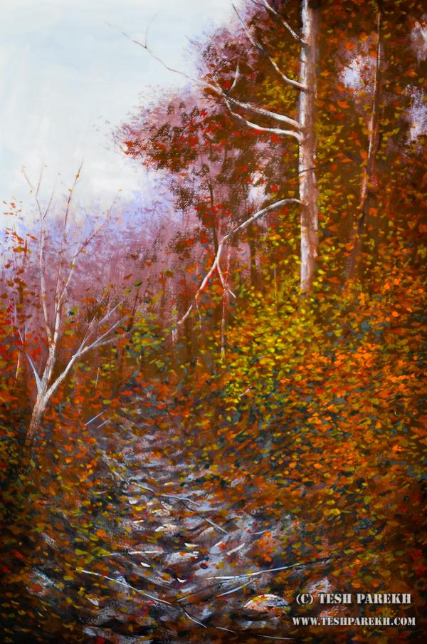 Secret Creek Autumn – A gouache panting by Raleigh NC fine artist